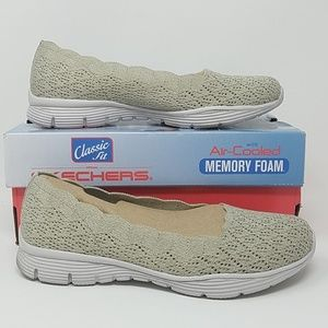 NIB Skechers Scalloped Knit Skimmer Womens 7.5 B2F